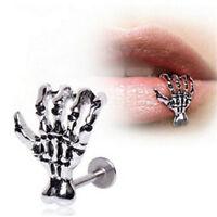 Halloween 1* Lip Stud Earring Skeleton Hand Ear Cuff Piercing Ring Bar Jewelry