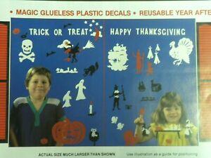 Halloween-Thanksgiving Vintage Stik-EES Window Clings Vinyl Decals ghost Pilgrim