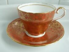 Aynsley Orange W Gold Filigree Vintage Tea Cup and Saucer Set EC