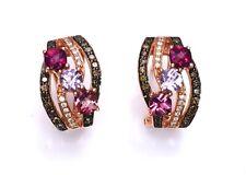 LeVian Earrings Chocolate Diamonds Tourmaline Pink Amethyst Garnet 14k Rose Gold