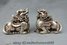 China FengShui Foo Dog Lion Brave troops Silver White Bronze Pixiu Statue pair