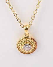Indian Designed Vermeil Gold Silver 925 Necklace with Cubic Zirconia, Vin 1970s