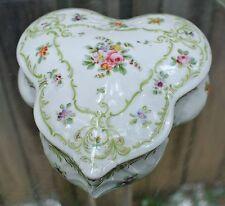 Antique Crown Saxe Porcelain Heart/Leaf Trinket Dish/Lid-4-Tyndale & Mitchell-PA