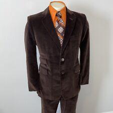 Vtg 60s 70s Leisure Suit Mens 42 Jacket Coat 33 29 Pants Disco Suede Velour Soft