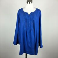 Woman Within 2X Pullover Tunic Knit Top Blue Stretch Roll Tab Sleeve Cotton Blen