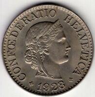 1928 SWITZERLAND TEN 10 RAPPEN  NICE WORLD COIN