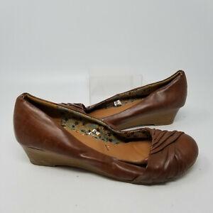 Xhilaration Brown Wedge Heel Round Toe Slip On Career Shoes Women Size 11