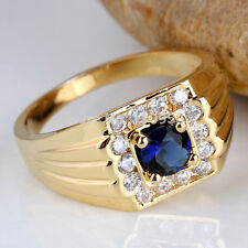 14 K Solid Yellow Gold Natural Gem Stone Sapphire & Diamond Men's Ring Jewelry