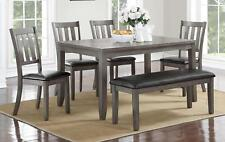 Crown Mark 2361GY-6P Cosgrove Traditional Grey Finish Dining Set w/Bench 6 Pcs