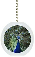 Beautiful Peacock Bird Animal Solid CERAMIC Ceiling Fan Light Lamp Pull