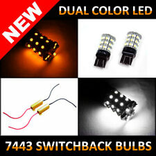 "7444 7443 Switchback LED Bulbs ""WHITE & AMBER"" Dual Color Turn Signal Lamp Light"