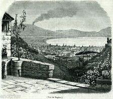 Napoli: Panorama. Regno delle Due Sicilie. Stampa Antica + Passepartout. 1846