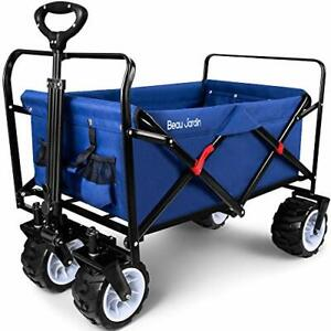 Heavy Duty Collapsible Folding Cart, Utility Push Trolley - 100KG Max Load