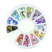 3D Acrylic Nail Art Tips DIY Decoration Crystal Glitter Rhinestones Wheel PopXU