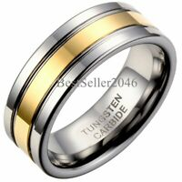 8MM Men Tungsten Carbide Groove Ring Wedding Band Polished Comfort Fit Size 8-13