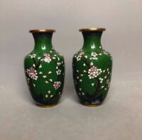 Pair Vtg Chinese Cloisonne Green Vases Cherry Blossoms Branches & Butterflies