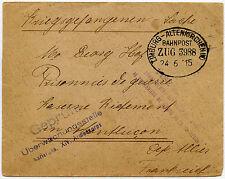 GERMANY 1915 ALTENKIRCHEN RAILWAY TPO LIMBURG + CENSORED POW Depot