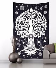 Indian Wall Hanging Black and White Tapestry Ethnic Buddha Tree of life