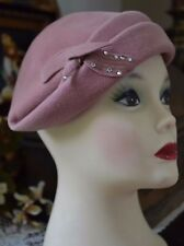 Ladies Vintage Dusty Pink Velour Half Hat, Rhinestone Accents