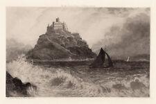 "Historic 1800s DAVID LAW ORIGINAL Etching ""St Michael's Mount"" SIGNED Framed COA"
