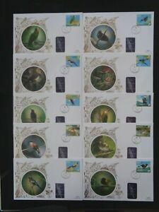 JAMAICA 2004 BIRD LIFE PART II SET 10v ON 10 x BENHAM SILK FIRST DAY COVERS VGC