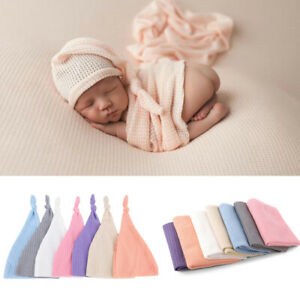 Soft Knit Newborn Photography Props Wrap Hat Set Baby Boy girl Bonnet Prop s_yk