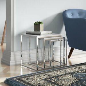 HAKU Nest of Tables Set of 3, Chrome Wood Gloss White