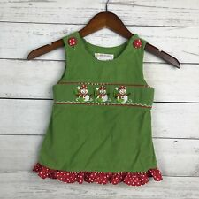 Secret Wishes Toddler Girl 3T Smocked Top Green Corduroy Snowmen Christmas Red