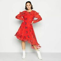 RRP 69 £ Ex Debenhams Red Floral Midi Womens Dress 6 8 10 12 14 16