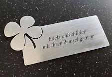 TÜRSCHILD mit Klee-Emblem- aus Edelstahl (V2A) 120x60mm - mit Ihrer WUNSCHGRAVUR