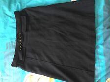 Dolce Gabbana Diseñador 14-16, negro una línea Falda, lana fina, con cinturón
