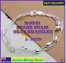 girls 925 sterling silver p Bracelet bangle snake chain charm beads bangle 20cm