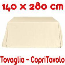 Copritavolo Cotone Tovaglia Bianco Avorio Rettangolare Tinta Unita 140 x 280 cm