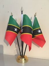 ST KITTS AND NEVIS TABLE FLAG SET OF 4 FLAGS WITH BASE CARIBBEAN
