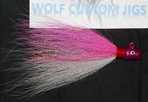 3/4, 1, 1 1/2oz Wolf Custom Hot Lips Bucktail Jig Smiling Bill Rockfish Weakfish