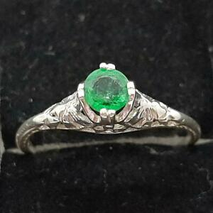 Antique Filigree .30ctw Colombian Emerald 925 Sterling Silver Ring Size 5