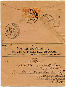 SINGAPORE 1938 PRINTED ENVELOPE 2 x KG6 4c MALAYA STRAITS SETTS FRANKING
