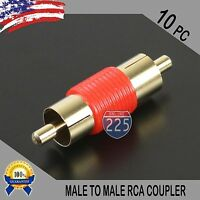 10 Pcs Bag Male To Male RCA Couplers RED w/Gold Plated Connector PACK Lot US