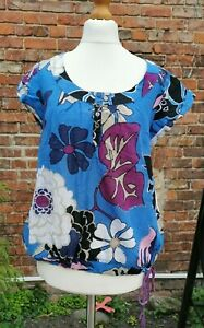 Size 10 Blue Floral Sequin Cotton Top, short sleeves, Mimosa