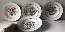 Quattro antichi piatti decorativi fondi- Majolica Luneville- gallo