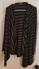MARIA GABRIELLE Jacket Black & Gray LONG DRAPED OPEN FRONT Cardigan size large L