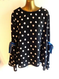M&S Collection 18 Black spotted mutton tie trim sleeve top (3172