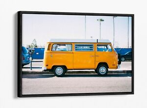 YELLOW CAMPER -DEEP FLOATER/FLOAT EFFECT FRAMED CANVAS WALL PRINT