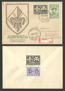 BELGIUM 1957 BOY SCOUTS SCOUTING REGISTERED BACK STAMPED FIRST DAY COVER FDC