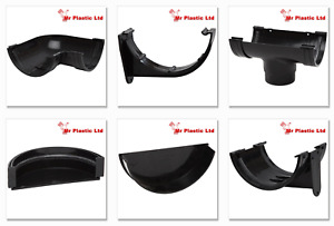Polypipe 150mm Large Half Round Gutter & 110mm Round Down Pipe Fittings in Black