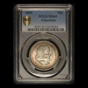 1893 Columbian Commemorative Half Dollar - Gorgeous Toning - PCGS MS 65