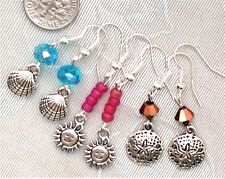 FREE SHIP Earrings Set of 3 Shell Sun Sand Dollar Czech Beads #777 Blue Red