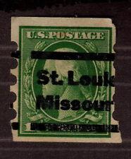 1912 US, 1c stamp, Mailometer IV perf. Sc 408, St. Louis Missouri precancel