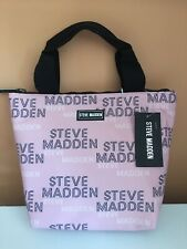 Steve Madden Pink Logo Insulated Black Zippered Black Handle Lunch Tote Bag