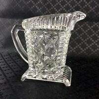 Milk Jug Creamer Vintage Art Deco Glass Square Footed Clear